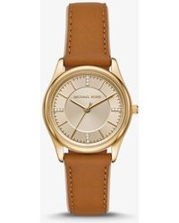 447b5c257161 Michael Kors - Colette Gold-tone And Leather Watch - Lyst