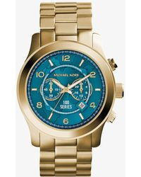 Michael Kors - Watch Hunger Stop Oversized Runway Gold-tone Stainless Steel Watch - Lyst
