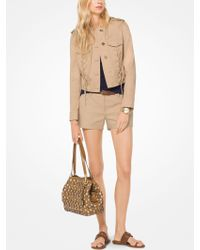 Michael Kors - Lace-up Cotton-twill Jacket - Lyst