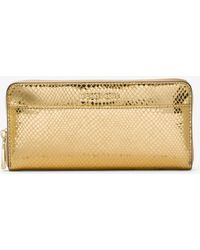 Michael Kors - Jet Set Metallic Embossed-leather Continental Wallet - Lyst