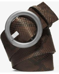Michael Kors - Round-buckle Python Belt - Lyst