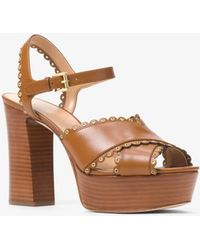Michael Kors - Jessie Leather Platform Sandal - Lyst