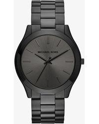 Michael Kors - Slim Runway Black-tone Stainless Steel Watch - Lyst