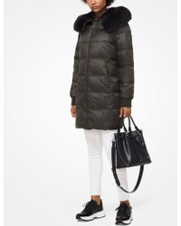 Michael Kors - Quilted Nylon And Faux Fur Puffer Coat - Lyst
