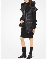 Michael Kors - Quilted Satin And Faux Fur Puffer Vest - Lyst