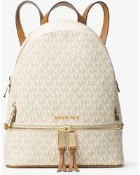 8ba12c2ca5a Michael Kors - Michael Signature Rhea Zip Medium Backpack - Lyst
