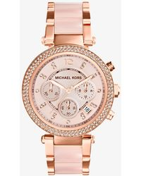 Michael Kors - Blush Acetate And Rose Gold Tone Parker Glitz Watch - Lyst