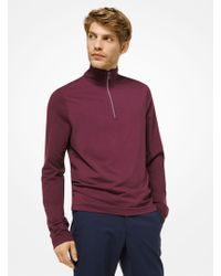 Michael Kors - Pullover in cotone stretch con mezza zip - Lyst