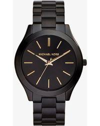 Michael Kors - Slim Runway Black Stainless Steel Watch - Lyst