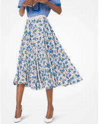 Michael Kors - Embroidered Rose Silk-georgette Skirt - Lyst