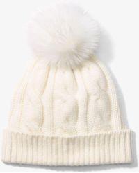 Michael Kors - Cable-knit Cashmere Pom-pom Beanie - Lyst