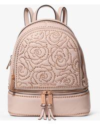 e3924a8e5f1d Michael Kors - Rhea Medium Rose Studded Leather Backpack - Lyst