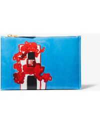 Michael Kors - Bancroft Printed Calf Leather Christina Zimpel Pouch - Lyst