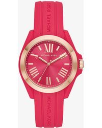 Michael Kors - Bradshaw Rose Gold-tone And Silicone Watch - Lyst