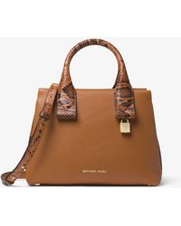 Michael Kors - Rollins Small Snake-embossed Leather Satchel - Lyst
