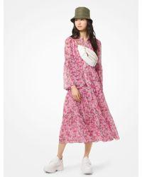 333b96081960 Michael Kors - Gestuftes Kleid aus Chiffon mit Blumenmuster - Lyst