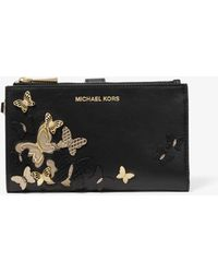 Michael Kors - Adele Butterfly Embellished Leather Smartphone Wallet - Lyst