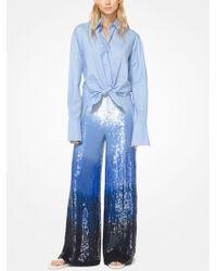 Michael Kors - Washed Cotton-poplin Tie-front Shirt - Lyst