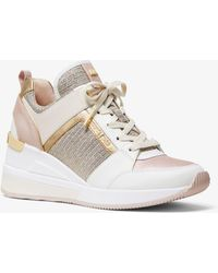 44917ba9e99 Michael Kors - Georgie Leather And Chain-mesh Trainer - Lyst