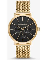 5ad488154fd0 Lyst - Michael Kors Silver Stainless Steel Mesh-Strap Accelerator ...