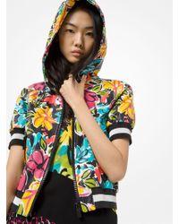 Michael Kors - Floral Plongé Leather Short-sleeve Track Jacket - Lyst