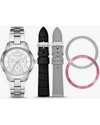 Michael Kors - Runway Silver-tone And Leather Interchangeable Watch Set - Lyst