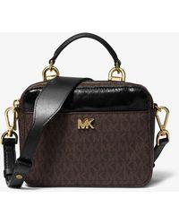 Michael Kors Mott Mini Logo And Leather Crossbody Bag