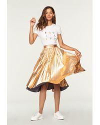MILLY - Metallic Laminated Taffeta Pleated Skirt - Lyst