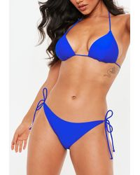 f467124c90a Missguided - Blue Mix And Match Tie Side Micro Bikini Bottoms - Lyst