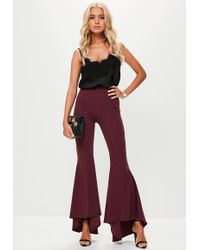 Missguided - Burgundy Asymmetric Draped Cigarette Trousers - Lyst