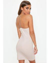 Missguided - Pink Chain T Bar Metallic Strappy Dress - Lyst