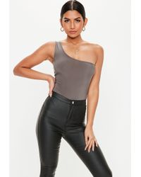 bc4e523562 Lyst - Missguided Gray Wrapped Slinky Bodysuit in Gray