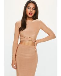Missguided - Camel Knot Front Slinky Crop Top - Lyst