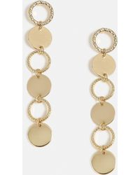 Missguided - Gold Look Circle Drop Diamante Earrings - Lyst