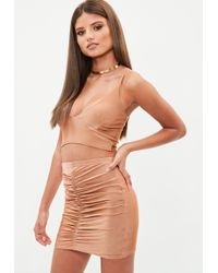 Missguided - Brown Slinky Gathered Front Mini Skirt - Lyst