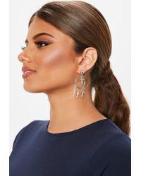 Missguided - Silver Look Diamante Cross Hoop Earrings - Lyst