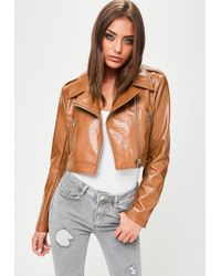 Missguided - Tan Cropped Faux Snake Biker Jacket - Lyst