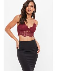 Missguided - Premium Burgundy Corded Lace Bralet - Lyst
