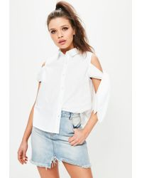 Missguided - White Cold Shoulder Tie Sleeve Blouse - Lyst
