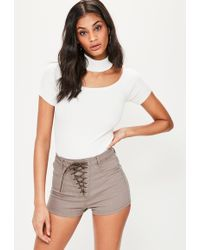 Missguided | Brown Vice Lace Up High Waisted Denim Shorts | Lyst