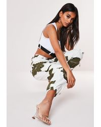 Missguided White Camo Print Cargo Pants