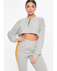 Missguided - Petite Grey Oversized Zip Front Cropped Sweatshirt - Lyst