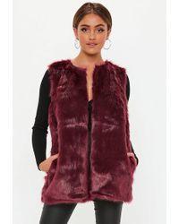 Missguided - Purple Faux Fur Gilet - Lyst