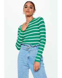 Missguided - Green Long Sleeve Ribbed Stripe Jumper - Lyst