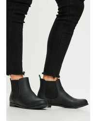 Missguided - Black Faux Leather Chelsea Ankle Boots - Lyst