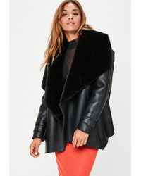 Missguided - Black Waterfall Shearling Jacket - Lyst