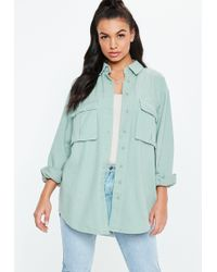 Missguided - Teal Utility Shacket - Lyst
