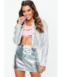 Missguided - Silver Metallic Petrol Look Denim Mini Skirt - Lyst