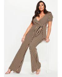 76f579f1c88 Missguided - Plus Size Nude Stripe Wide Leg Jumpsuit - Lyst