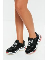 Missguided - Black Contrast Sole Color Block Chunky Sneakers - Lyst